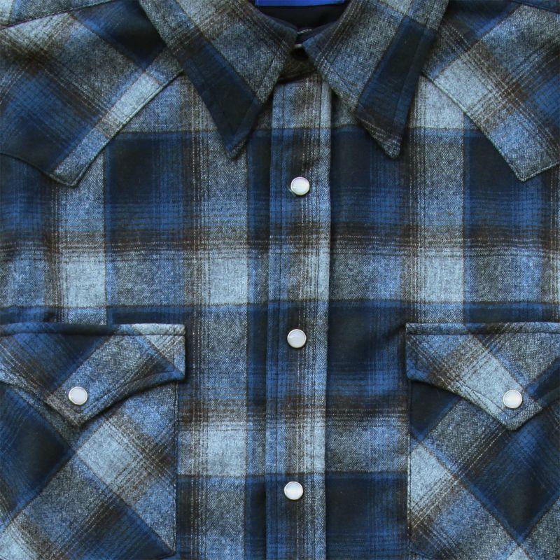 画像2: ペンドルトン ヴァ-ジンウール フィッテッド ウエスタンシャツ(ブルー グレー)/Pendleton Western Shirt