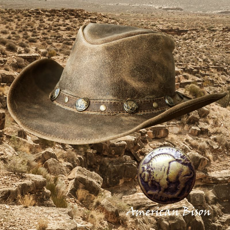 画像2: バッファロー コンチョ レザー ハット・あご紐つき(ブラウン)/Leather Hat(Brown)