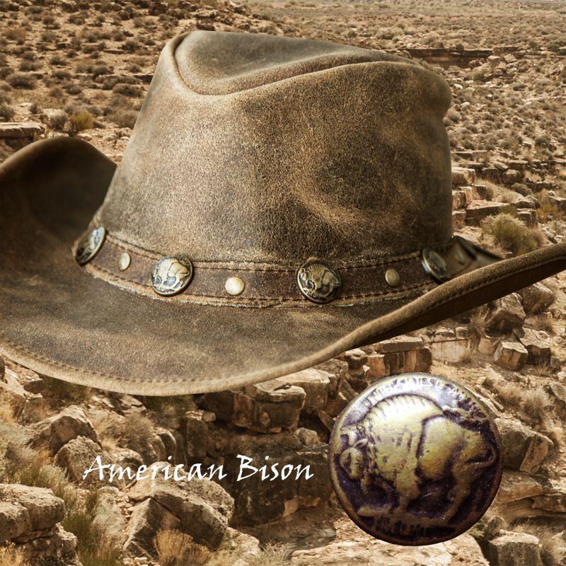 画像1: バッファロー コンチョ レザー ハット・あご紐つき(ブラウン)/Leather Hat(Brown)