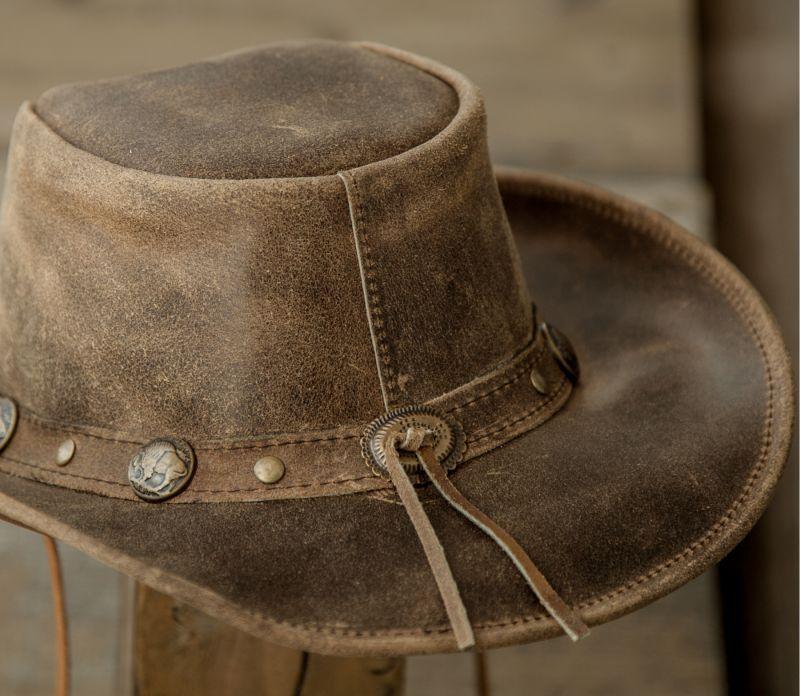 画像4: バッファロー コンチョ レザー ハット・あご紐つき(ブラウン)/Leather Hat(Brown)