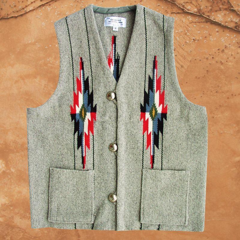 画像1: トルフィリオス チマヨ ベスト ポケットつきS・100%ウール手織り/CHIMAYO TRUJILLO'S HAND WOVEN 100% ALL WOOL VEST (1)