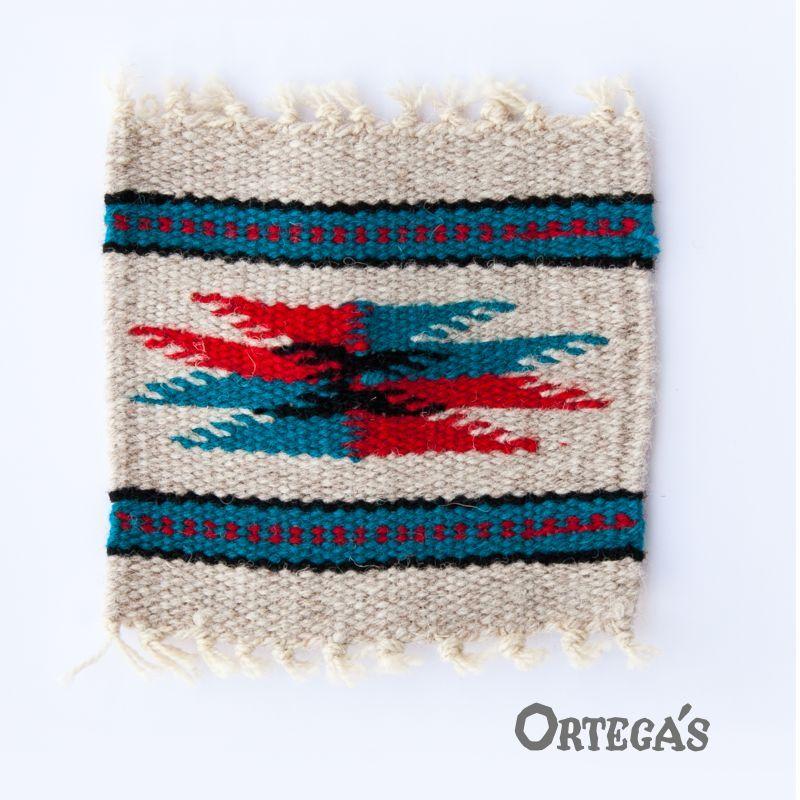 画像1: オルテガ ウール コースター レッド・ターコイズ・ブラック(12cm×12cm)/Ortega's Wool Coasters (1)