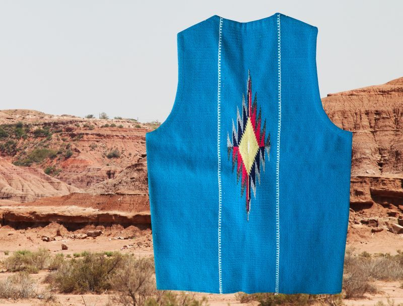 画像2: トルフィリオス チマヨ ベスト ポケットつきS・100%ウール手織り/CHIMAYO TRUJILLO'S HAND WOVEN 100% ALL WOOL VEST