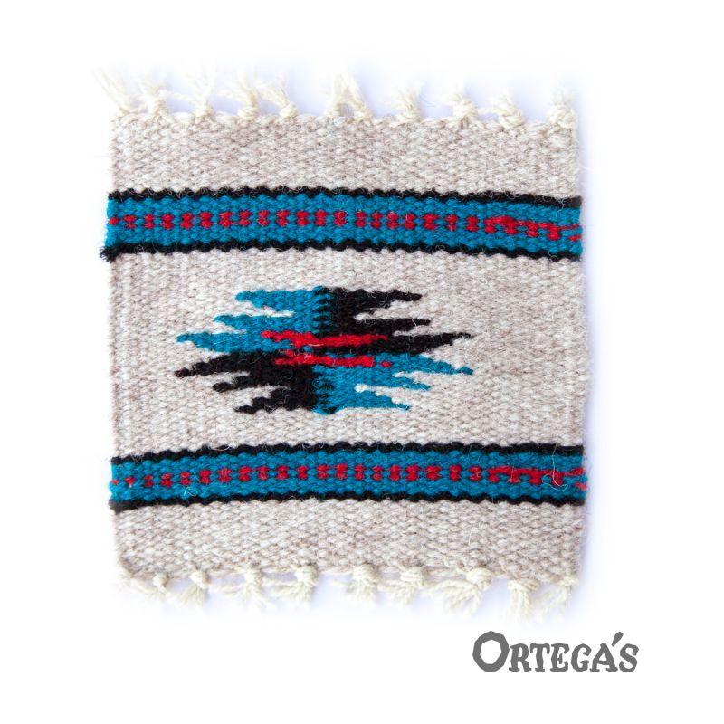 画像1: オルテガ ウール コースター ターコイズ・ブラック・レッド(12cm×12cm)/Ortega's Wool Coasters