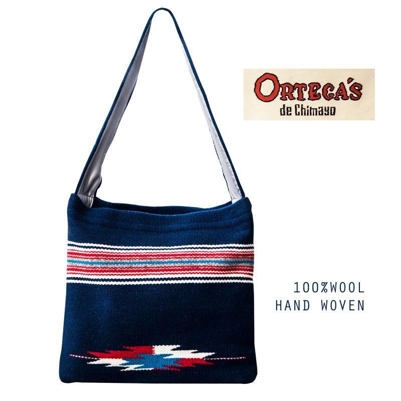 画像2: オルテガ チマヨ ショルダー トートバッグ 100%ウール手織り(ネイビー)/CHIMAYO ORTEGA'S HAND WOVEN 100% ALL WOOL TOTE BAG(Navy)