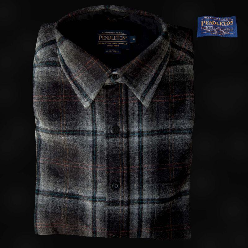 画像1: ペンドルトン ウールシャツ ロッジシャツ グレー・ブラックプラッドS/Pendleton Lodge Shirt