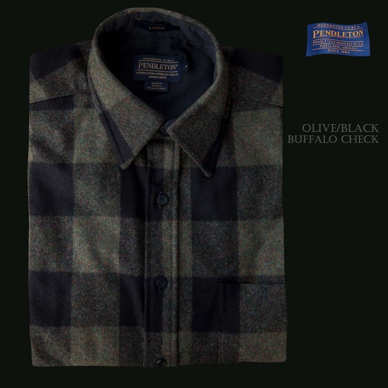 画像1: ペンドルトン ウールシャツ ロッジシャツ オリーブ・ブラック バッファローチェックS/Pendleton Lodge Shirt
