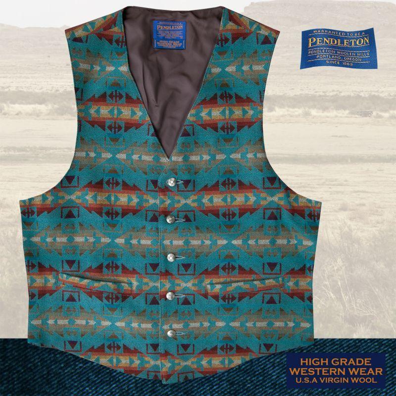 画像1: ペンドルトン U.S.A バージン ウール ベスト(ライトターコイズ)L/Pendleton U.S.A Virgin Wool Vest(Light Turquoise)