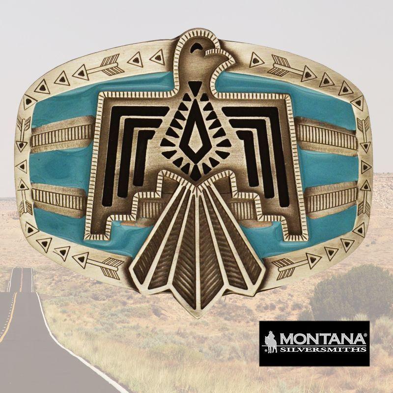 画像1: モンタナシルバースミス サンダーバード ターコイズ ベルト バックル/Montana Silversmiths Belt Buckle
