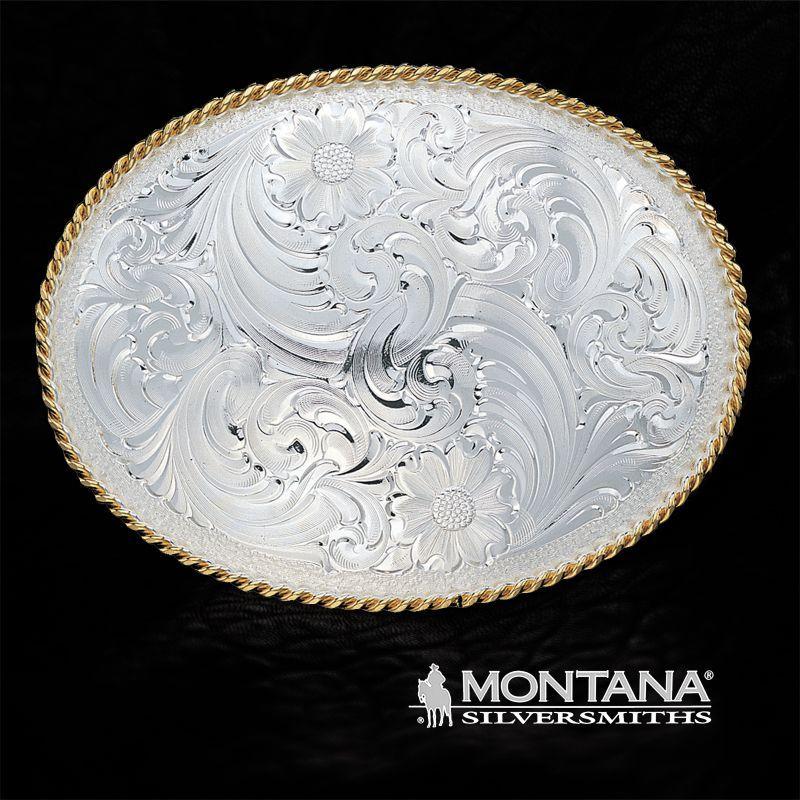画像1: モンタナシルバースミス シルバー エングレーブ ウエスタン ベルト バックル ファンシー/Montana Silversmiths Belt Buckle Funcy