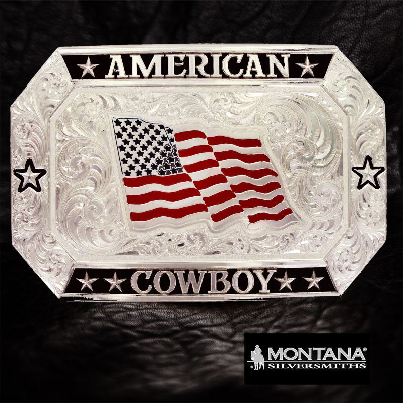 画像1: モンタナシルバースミス アメリカン カウボーイ フラッグ ベルト バックル/Montana Silversmiths American Cowboy Flag Belt Buckle