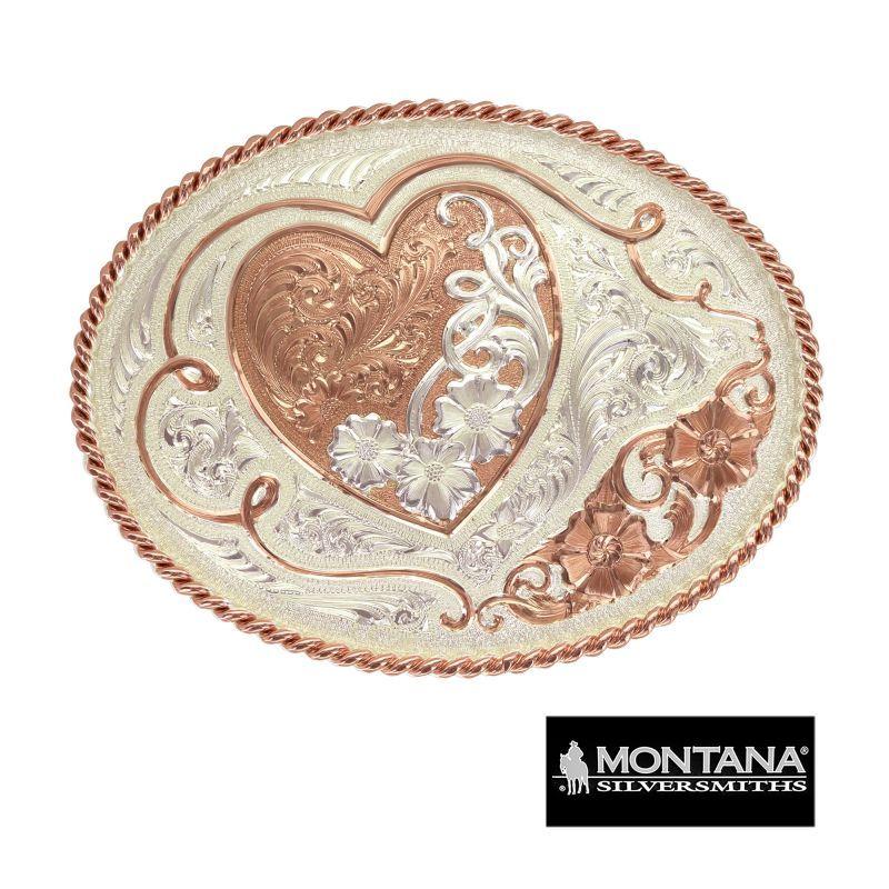 画像1: モンタナシルバースミス ベルト バックル ハート&フラワー/Montana Silversmiths Belt Buckle Heart w/Flowers (1)