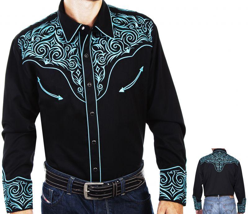 画像3: スカリー ウエスタン 刺繍 シャツ(長袖/ブラック・スクロールターコイズ)/Scully Long Sleeve Embroidered Western Shirt(Men's)