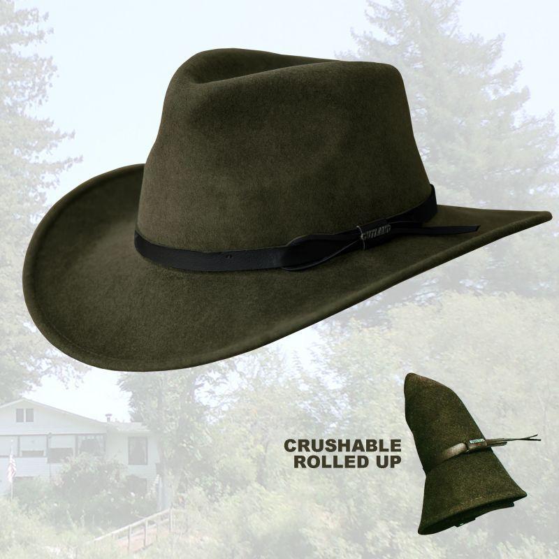 画像1: ブルハイド クラッシャブル ロールアップ プレミアムウール アウトドアハット(オリーブ)/Bullhide Outland Crashable Rolled Up Premium Wool Hat(Olive)