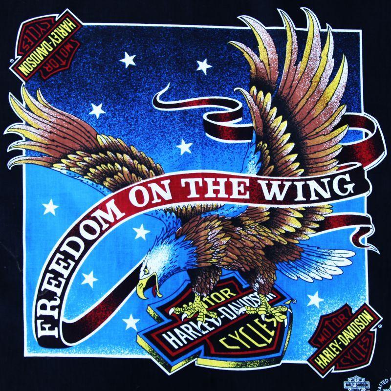 画像1: ハーレーダビッドソン バンダナ(ブラック・イーグル FREEDOM ON THE WING)/Harley Davidson Bandana
