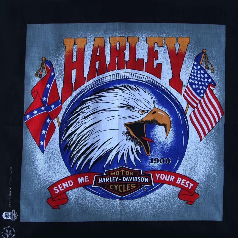 画像2: ハーレーダビッドソン バンダナ(ブラック・イーグル SEND ME YOUR BEST)/Harley Davidson Bandana