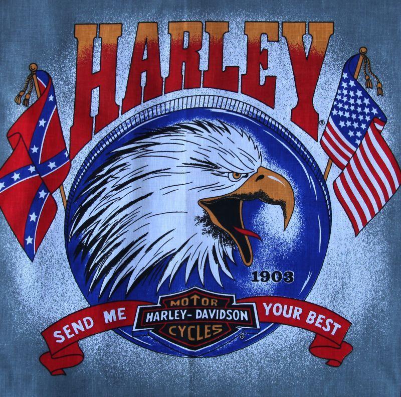 画像1: ハーレーダビッドソン バンダナ(ブラック・イーグル SEND ME YOUR BEST)/Harley Davidson Bandana