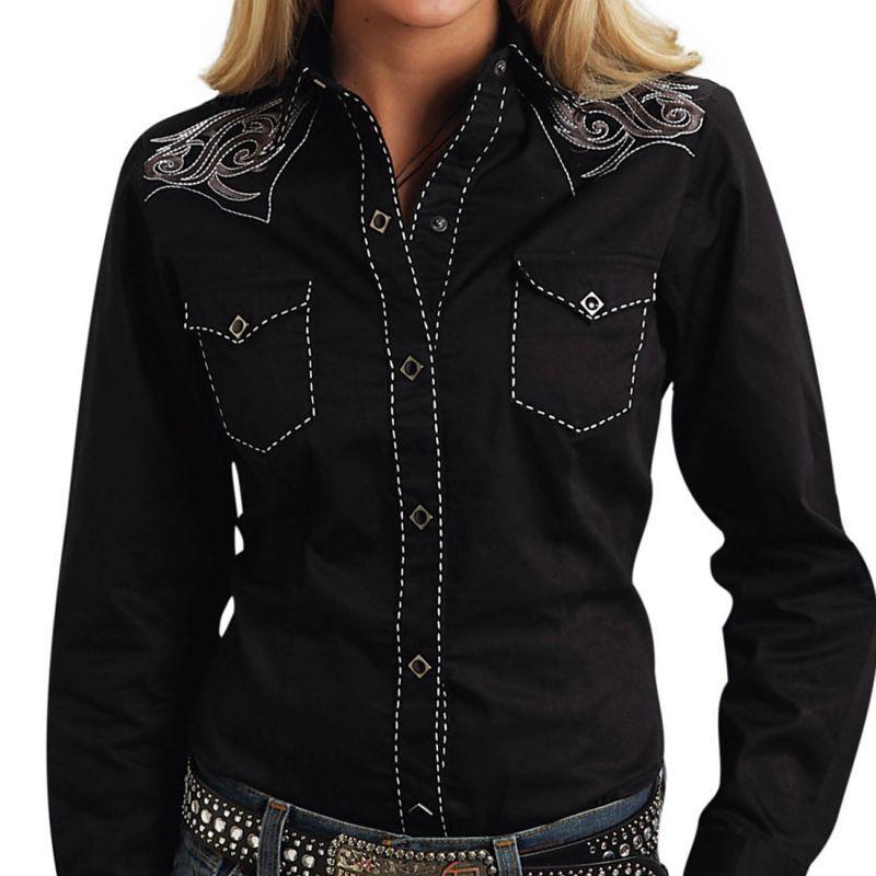 画像1: ローパー 刺繍&ステッチ ウエスタンシャツ ブラック(長袖/レディース)/Roper Long Sleeve Western Shirt(Women's) (1)