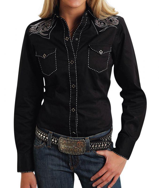 画像3: ローパー 刺繍&ステッチ ウエスタンシャツ ブラック(長袖/レディース)/Roper Long Sleeve Western Shirt(Women's)