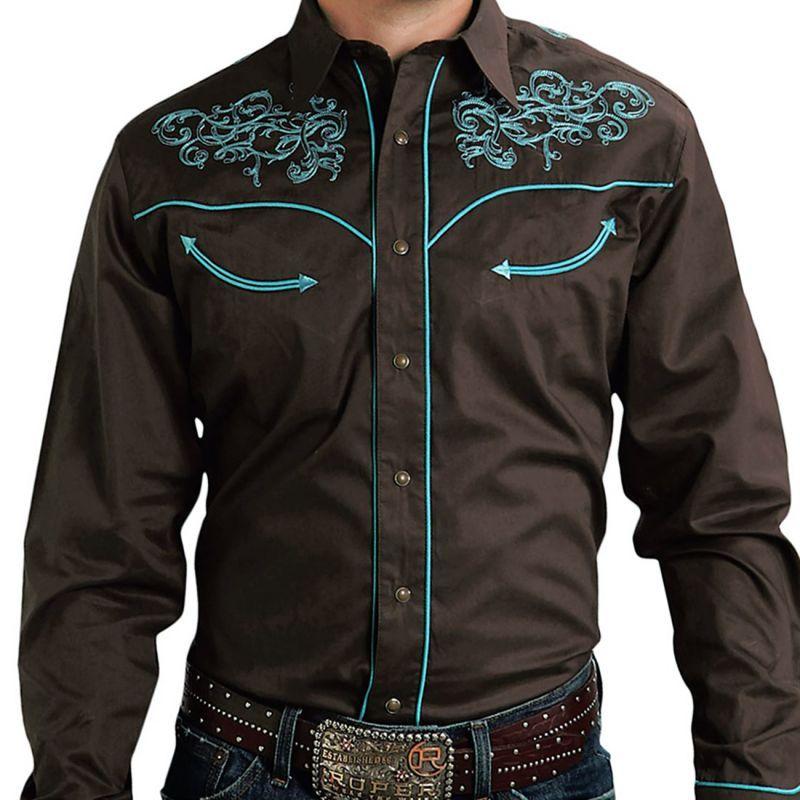 画像1: ローパー 刺繍 ウエスタン  シャツ(長袖/ブラウン・ターコイズ)/Roper Long Sleeve Embroidered Western Shirt
