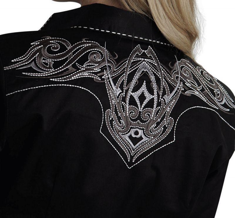 画像2: ローパー 刺繍&ステッチ ウエスタンシャツ ブラック(長袖/レディース)/Roper Long Sleeve Western Shirt(Women's)