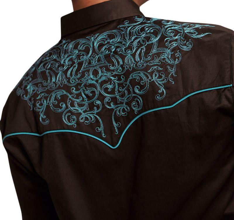 画像2: ローパー 刺繍 ウエスタン  シャツ(長袖/ブラウン・ターコイズ)/Roper Long Sleeve Embroidered Western Shirt