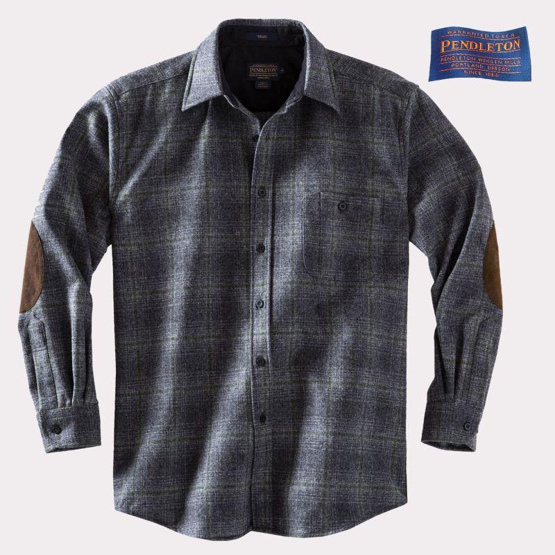 画像1: ペンドルトン ピュアー ヴァ-ジン ウール シャツ・エルボーパッチ トレイルシャツ オックスフォードグレー ・セージオンブレS/Pendleton Trail Shirt (Oxford Grey/Sage Ombre)