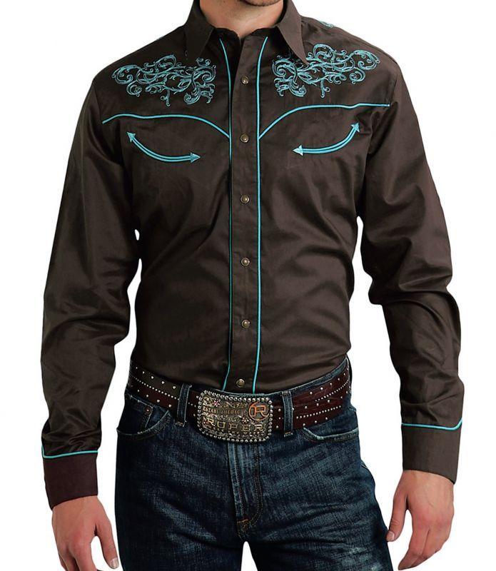 画像3: ローパー 刺繍 ウエスタン  シャツ(長袖/ブラウン・ターコイズ)/Roper Long Sleeve Embroidered Western Shirt
