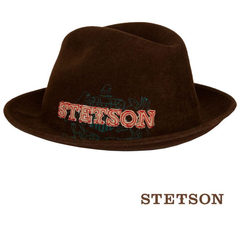 画像1: ステットソン ウール フェドラ ロゴハット(ブラウン)/Stetson Wool Fedora Hat(Brown)