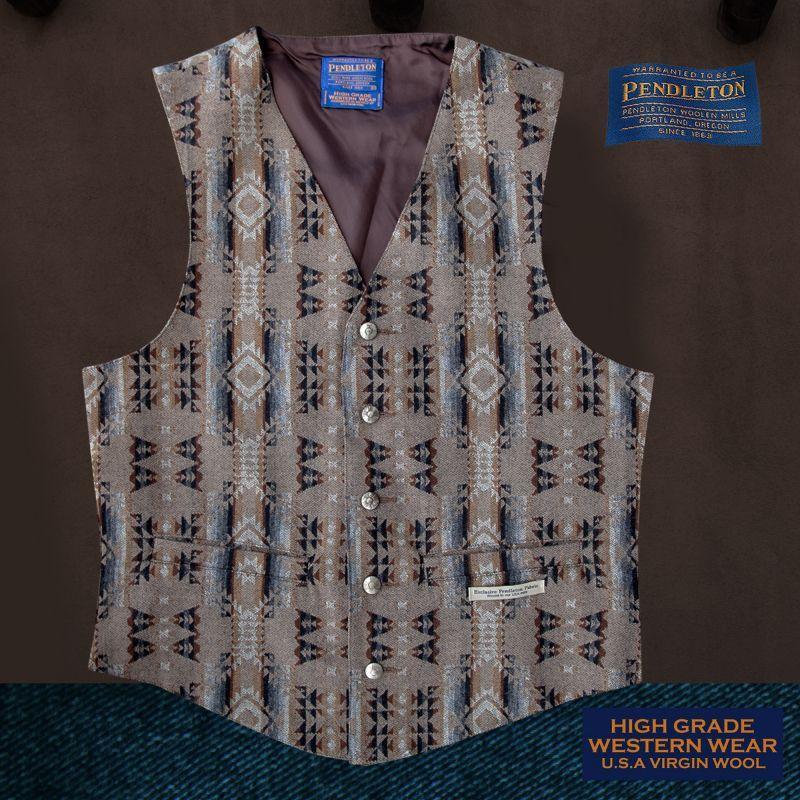 画像1: ペンドルトン U.S.A ヴァ-ジン ウール ベスト(ブラウン)/Pendleton U.S.A Virgin Wool Vest(Standing Rock)