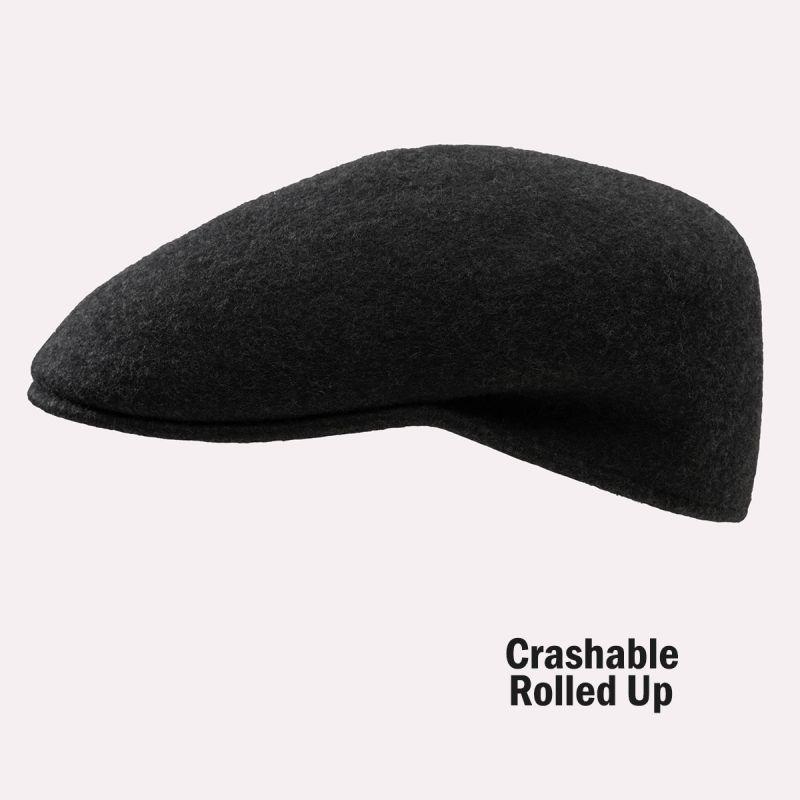 画像1: ハンチングキャップ・クラッシャブル&ロールアップ ウール カフリーハット(チャコール)/Cuffley Hat(Charcoal)