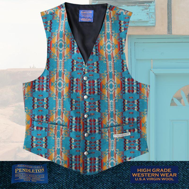 画像1: ペンドルトン U.S.A ヴァ-ジン ウール ベスト(ターコイズ)/Pendleton U.S.A Virgin Wool Vest(Turquoise)