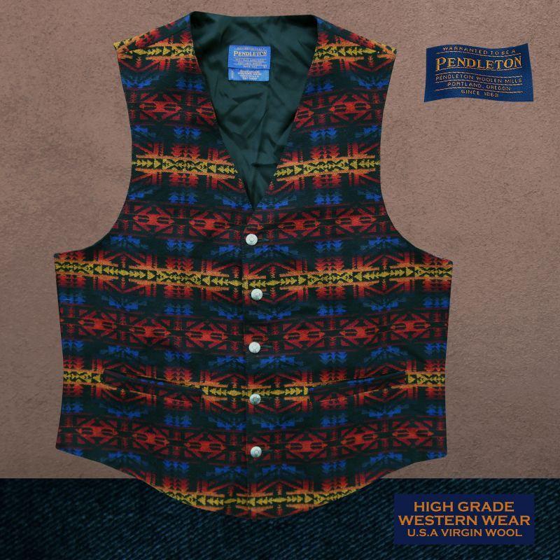 画像1: ペンドルトン U.S.A ヴァ-ジン ウール ベスト(ブラック・ブルー・バーガンディー)L/Pendleton U.S.A Virgin Wool Vest(Black/Blue/Burgundy)