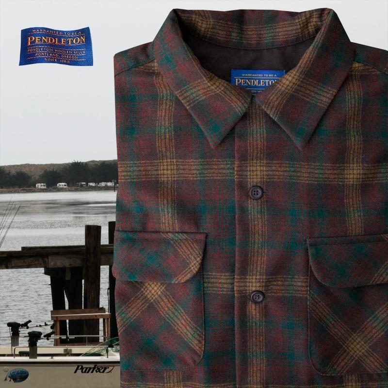 画像1: ペンドルトン ピュアー ヴァ-ジン ウール フィッテッド ボードシャツ(ブラウン・ラスト・ブロンズプラッド)XS/Pendleton Fitted Board Shirt (1)