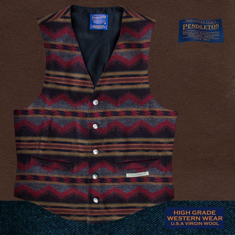 画像1: ペンドルトン U.S.A ヴァ-ジン ウール ベスト(ブラウン・グレー)/Pendleton U.S.A Virgin Wool Vest Pinetop(Brown/Grey)