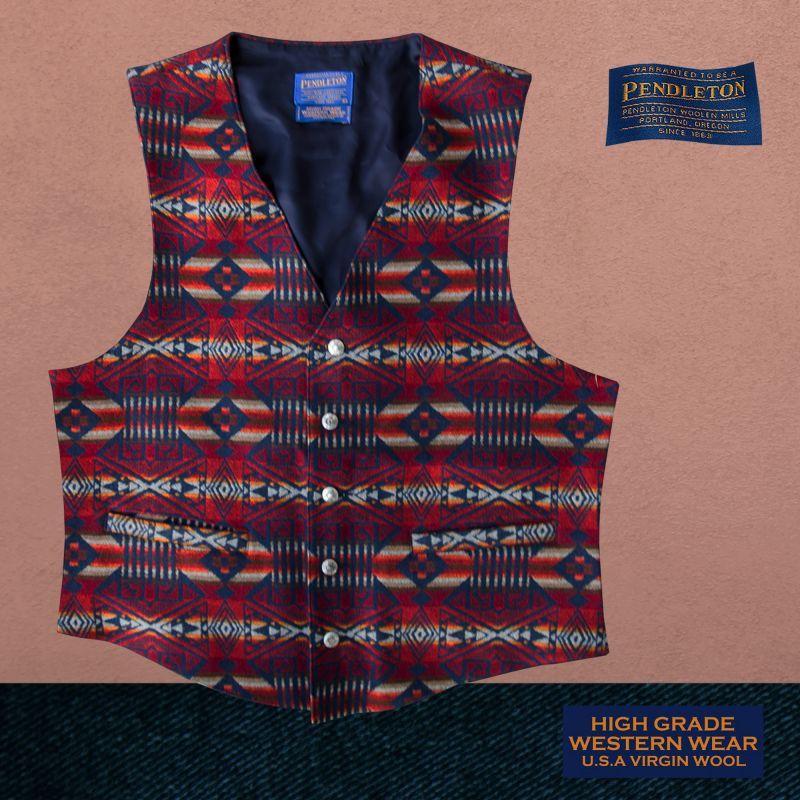 画像1: ペンドルトン U.S.A ヴァ-ジン ウール ベスト(ネイビー・レッド)L/Pendleton U.S.A Virgin Wool Vest Carson Springs(Navy/Red)