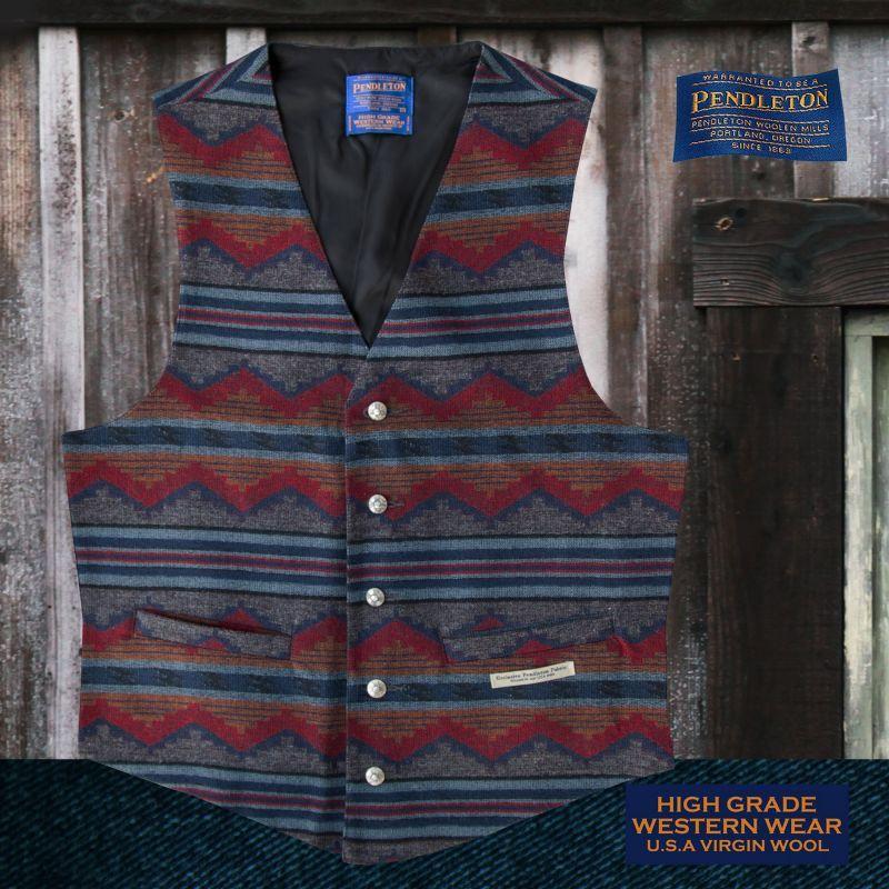画像1: ペンドルトン U.S.A ヴァ-ジン ウール ベスト(チャコール・ブルー)/Pendleton U.S.A Virgin Wool Vest Pinetop(Charcoal/Blue)