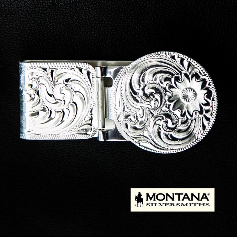画像1: モンタナシルバースミス エングレーブ マネークリップ(シルバー)/Montana Silversmiths Silver Engraved Hinged Money Clip