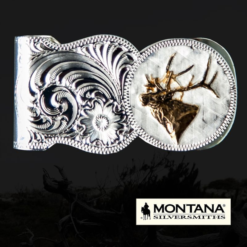 画像1: モンタナシルバースミス ワイルドライフ エルク マネークリップ(シルバー・ゴールド)/Montana Silversmiths Elk Head Scalloped Money Clip