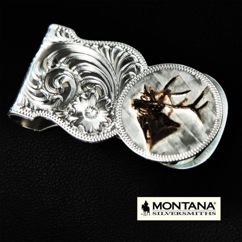 画像2: モンタナシルバースミス ワイルドライフ エルク マネークリップ(シルバー・ゴールド)/Montana Silversmiths Elk Head Scalloped Money Clip
