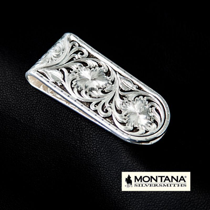 画像2: モンタナシルバースミス アンティークシルバー シェリダンワイルドローズ マネークリップ/Montana Silversmiths Antiqued Sheridan Rose Money Clip