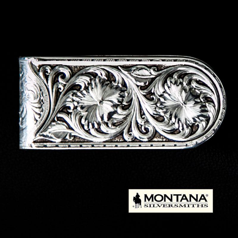 画像1: モンタナシルバースミス アンティークシルバー シェリダンワイルドローズ マネークリップ/Montana Silversmiths Antiqued Sheridan Rose Money Clip