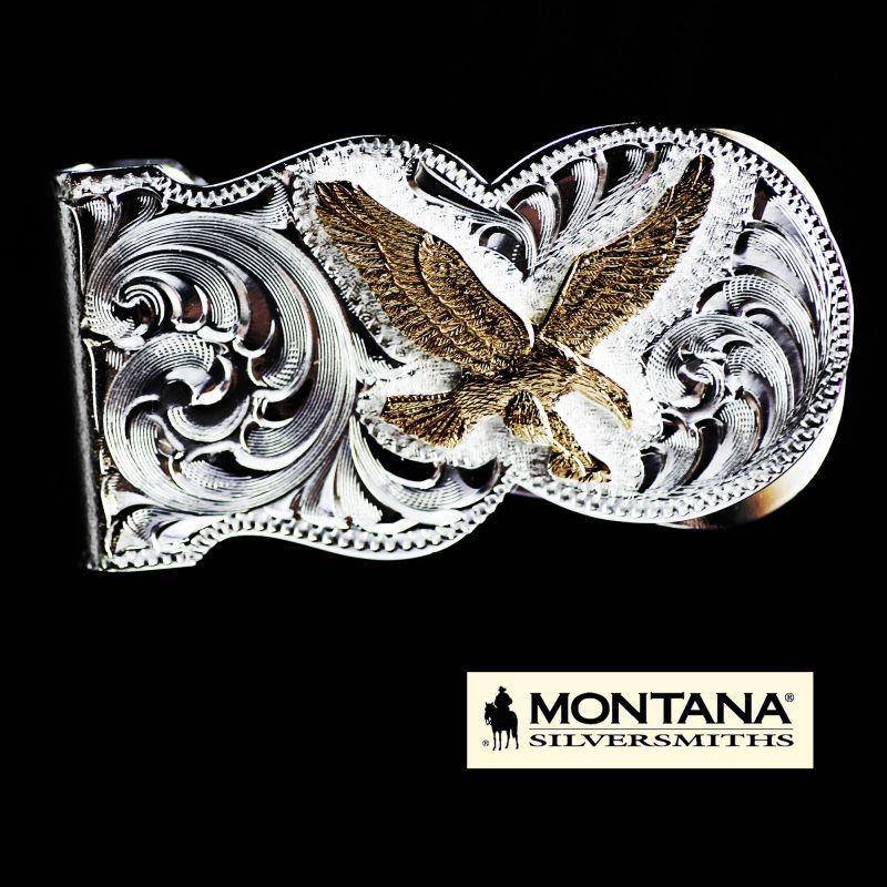 画像1: モンタナシルバースミス アメリカンイーグル マネークリップ(シルバー・ゴールド)/Montana Silversmiths Eagle Scalloped Money Clip