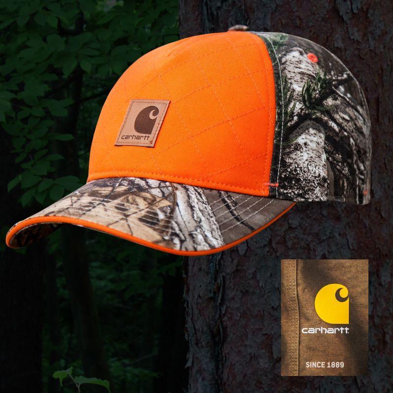 画像1: カーハート ロゴ ハンティング キャップ(ブレイズオレンジ・リアルツリーカモ)/Carhartt Baseball Cap(Blaze Orange/Realtree Xtra)