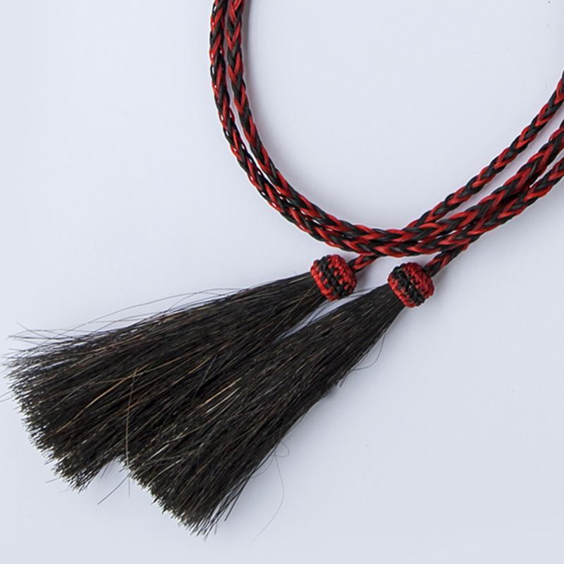 画像1: ホースヘアー スタンピード ストリングス レッド・ブラック(ハット用あごひも)/Horse Hair Stampede Strings