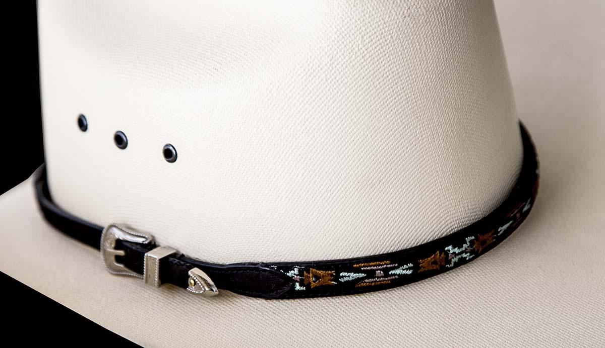 画像2: アズテック刺繍 レザー ハットバンド(ブラック)/Hat Band(Embroidered Black Aztec)