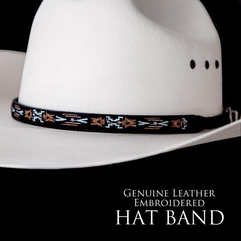 画像1: アズテック刺繍 レザー ハットバンド(ブラック)/Hat Band(Embroidered Black Aztec)
