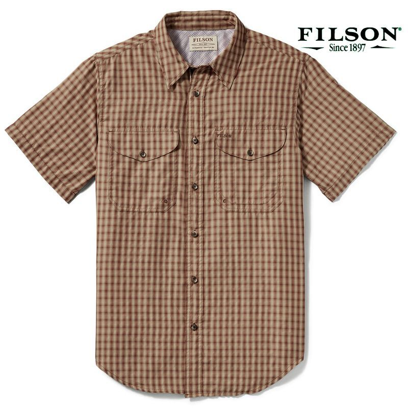 画像2: フィルソン 半袖 シャツ(ブリック・タンプラッド)XS/Filson Twin Lakes Short Sleeve Sport Shirt(Brick/Tan Plaid)