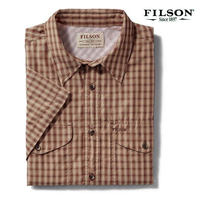 画像1: フィルソン 半袖 シャツ(ブリック・タンプラッド)XS/Filson Twin Lakes Short Sleeve Sport Shirt(Brick/Tan Plaid)