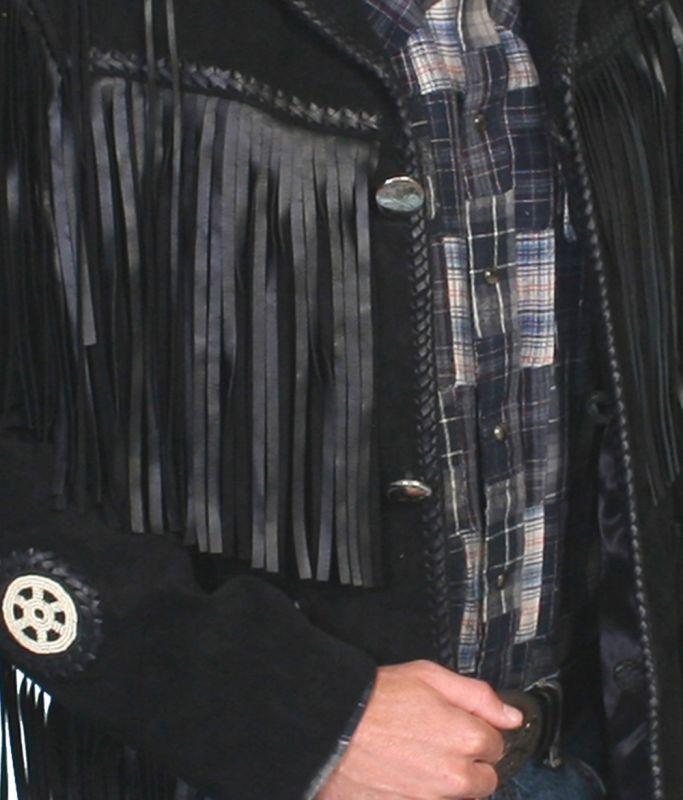 画像2: ウエスタン レザーフリンジジャケット(ブラック)/Western Leather Fringe Jacket